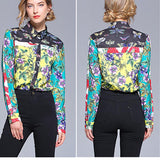Fashion Print Sleeve Shirt green 2xl