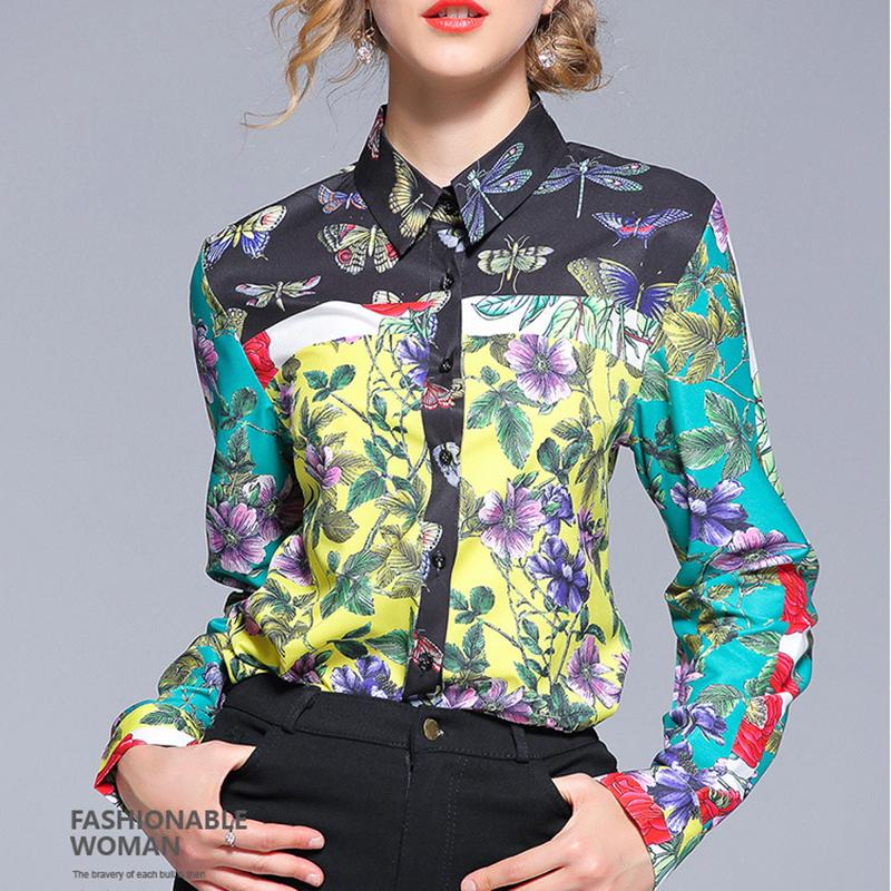 Fashion Print Sleeve Shirt green l