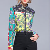 Fashion Print Sleeve Shirt green xl