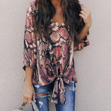 Fashion V Collar Snake Printed Blinding Shirts Top