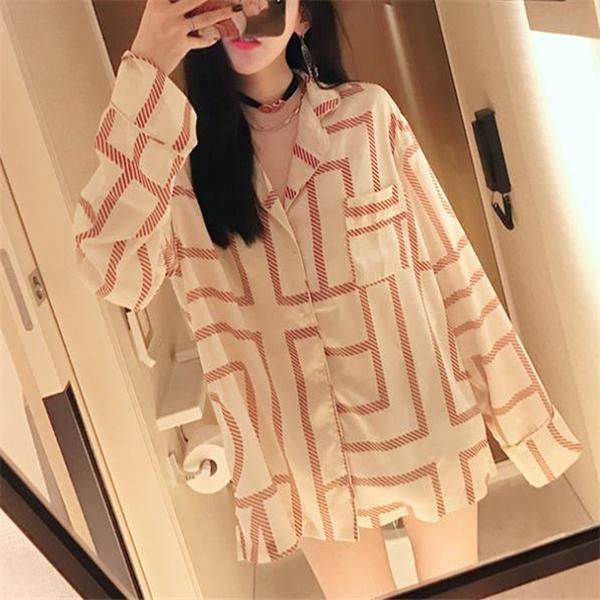 Casual Fashion Nifty Loose Plaid Long Sleeve Long Blouse beige l