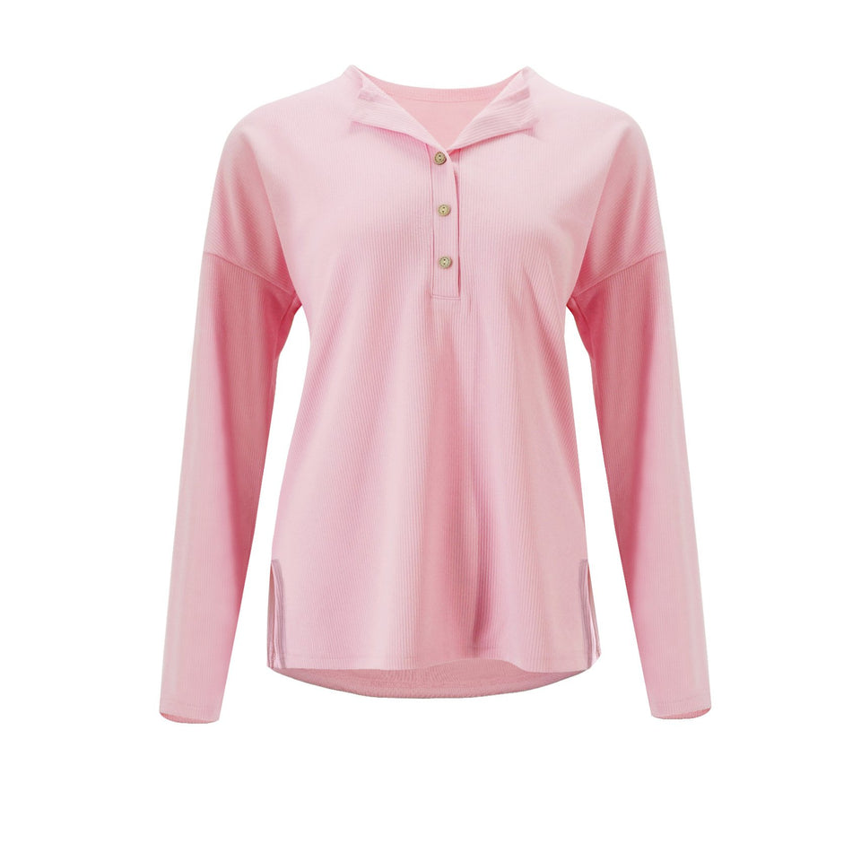 Solid Color Long-Sleeved Button Split T-Shirt pink m