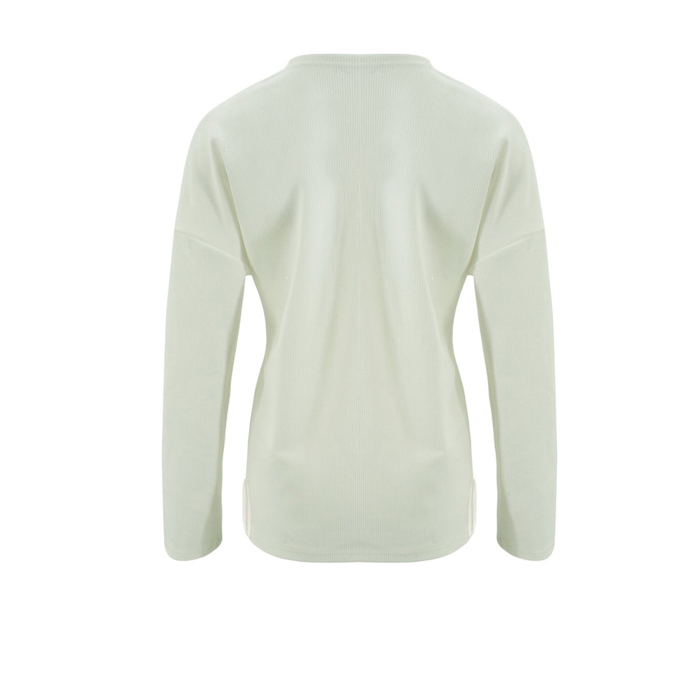 Solid Color Long-Sleeved Button Split T-Shirt white xl