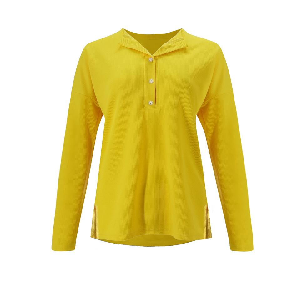 Solid Color Long-Sleeved Button Split T-Shirt yellow s