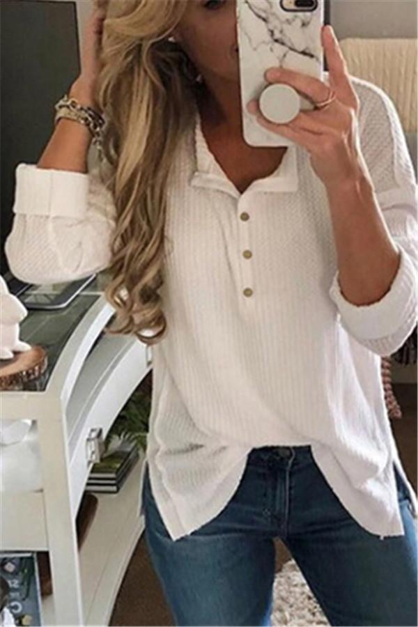 Solid Color Long-Sleeved Button Split T-Shirt white s