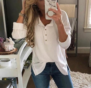 Solid Color Long-Sleeved Button Split T-Shirt white m