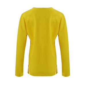 Solid Color Long-Sleeved Button Split T-Shirt yellow m