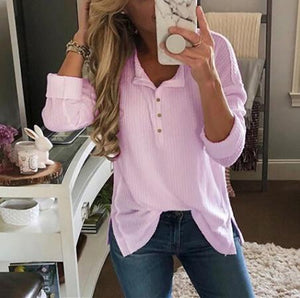 Solid Color Long-Sleeved Button Split T-Shirt pink s