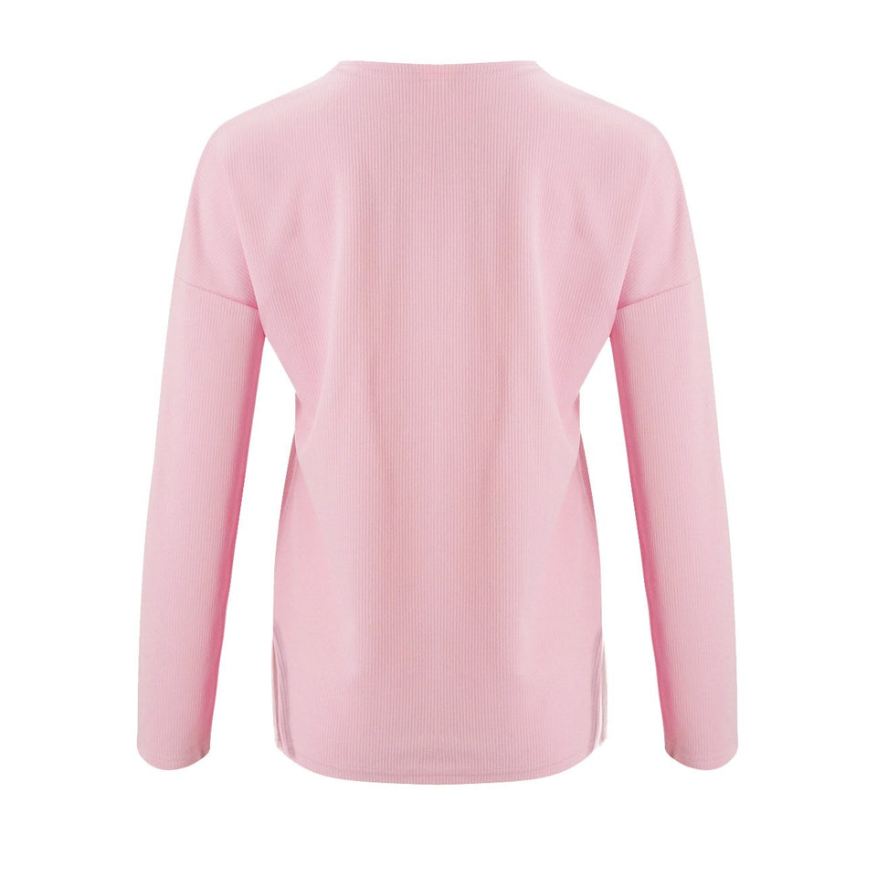 Solid Color Long-Sleeved Button Split T-Shirt pink l