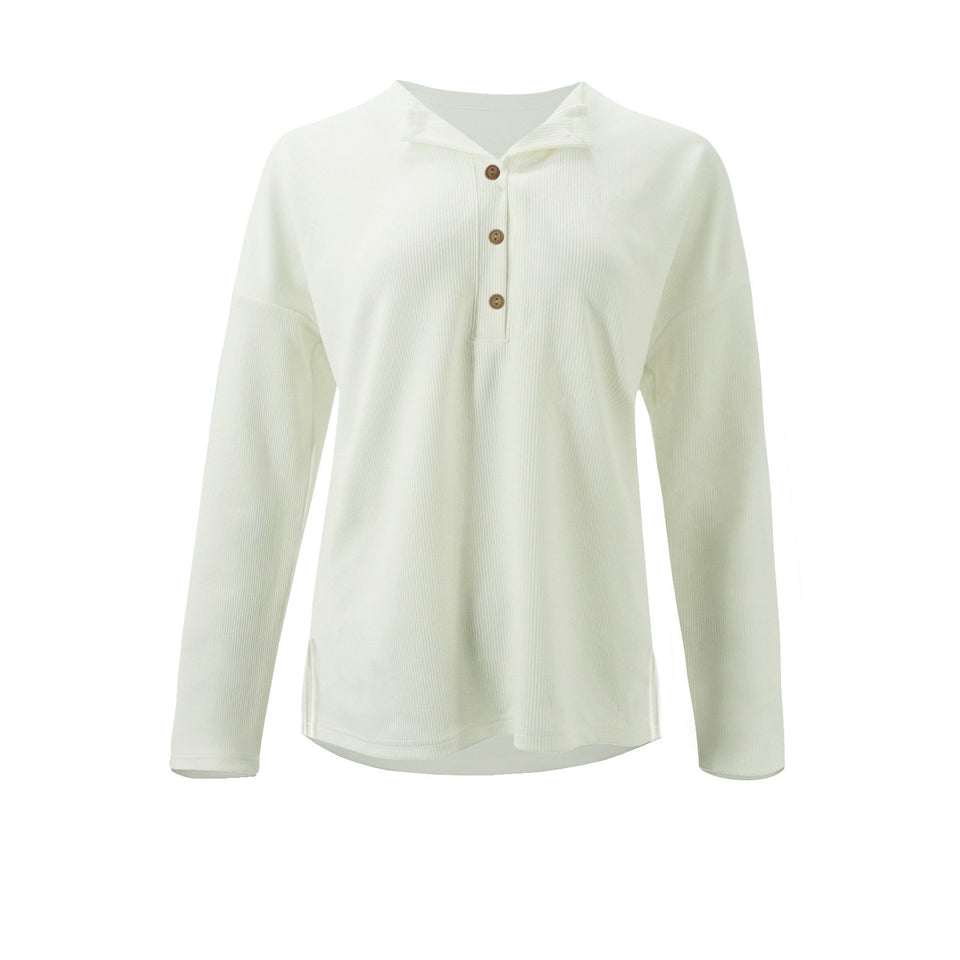 Solid Color Long-Sleeved Button Split T-Shirt white l