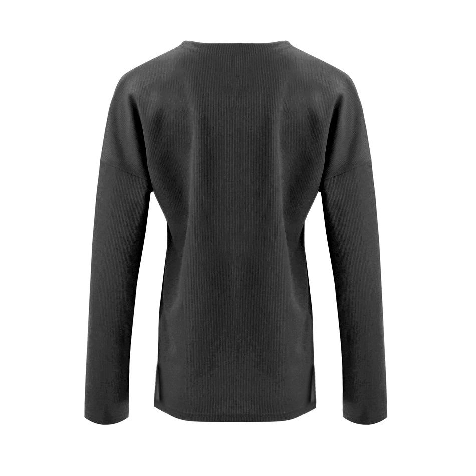 Solid Color Long-Sleeved Button Split T-Shirt black s