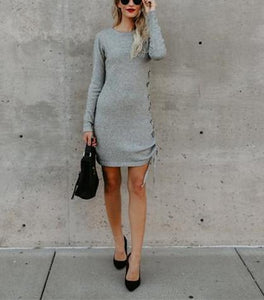 Solid Color Long Sleeve Side Band Wrap Hip Trim Dress light_gray m