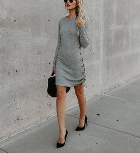 Solid Color Long Sleeve Side Band Wrap Hip Trim Dress light_gray xl