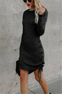 Solid Color Long Sleeve Side Band Wrap Hip Trim Dress dark_grey s