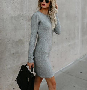 Solid Color Long Sleeve Side Band Wrap Hip Trim Dress light_gray s