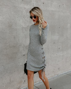 Solid Color Long Sleeve Side Band Wrap Hip Trim Dress light_gray l