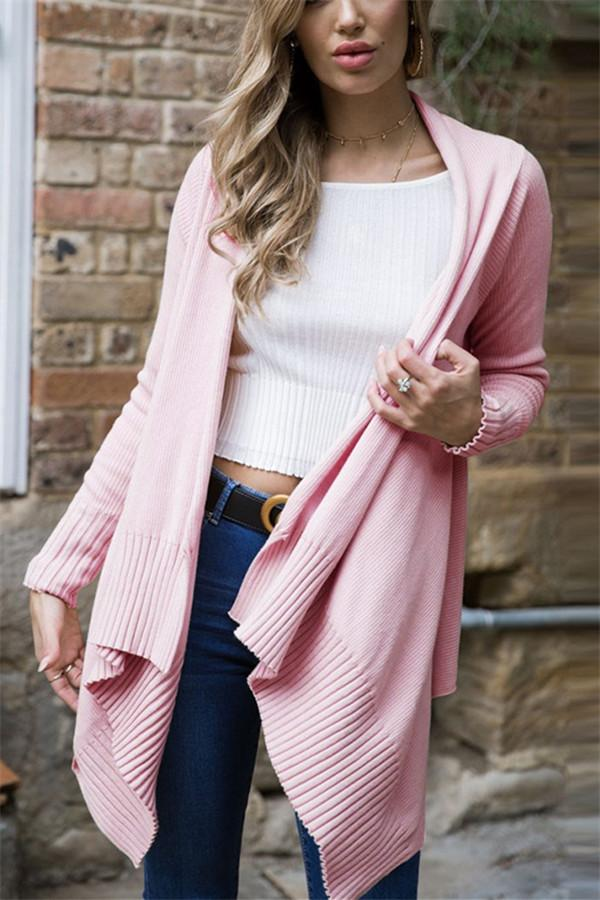 Fashion Long Pure Color Knitted Sweater pink one size