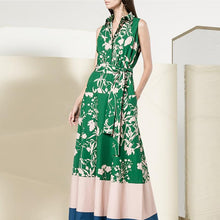 Green Vintage Floral   Printed V-Neck Sleeveless Fashion Maxi Dress