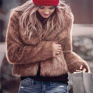 Elegant Chic Lady Plain Fur Long Sleeve Cardigan Camel m