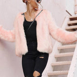 Elegant Chic Lady Plain Fur Long Sleeve Cardigan Camel l