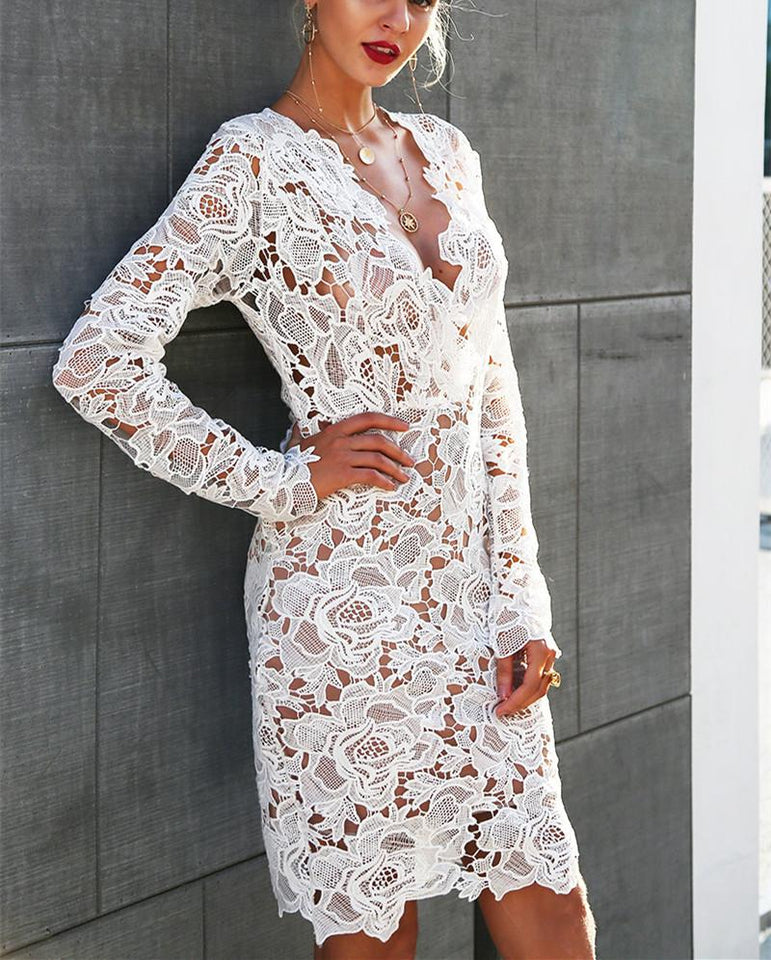 Sexy Lace Long-Sleeved Bodycon Dresses white xl
