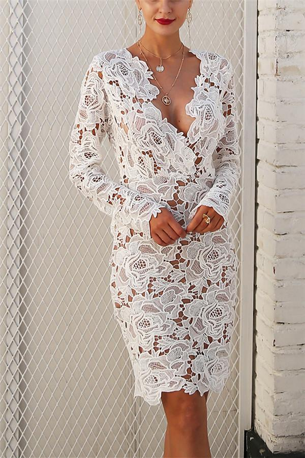 Sexy Lace Long-Sleeved Bodycon Dresses white l