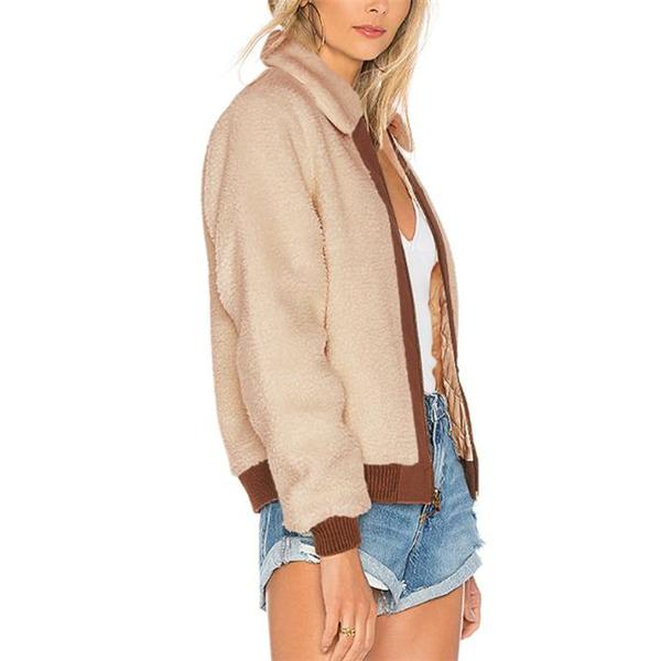 Casual Stylish Loose Color Block Woolen Long Sleeve Cardigan khaki l