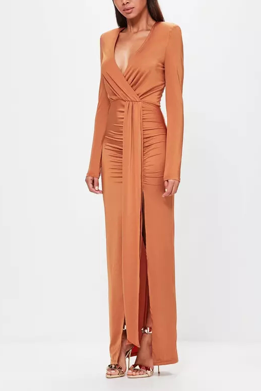 Sexy Deep V Collar Plain Slit Bmaxi Dress same_as_photo m