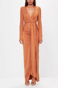 Sexy Deep V Collar Plain Slit Bmaxi Dress same_as_photo s