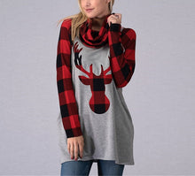 Christmas Long-Sleeved Bib Elk Printing Medium Long Jacket