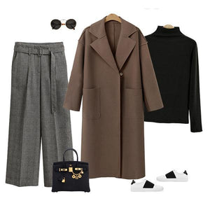 Winter Fashion Long Cashmere Coat With Belt beige m