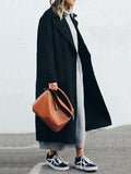 Winter Fashion Long Cashmere Coat With Belt black m