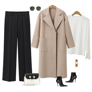 Winter Fashion Long Cashmere Coat With Belt black xl