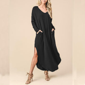 V Long-Sleeved Extended T-Shirt \/ Dress dark_blue xl