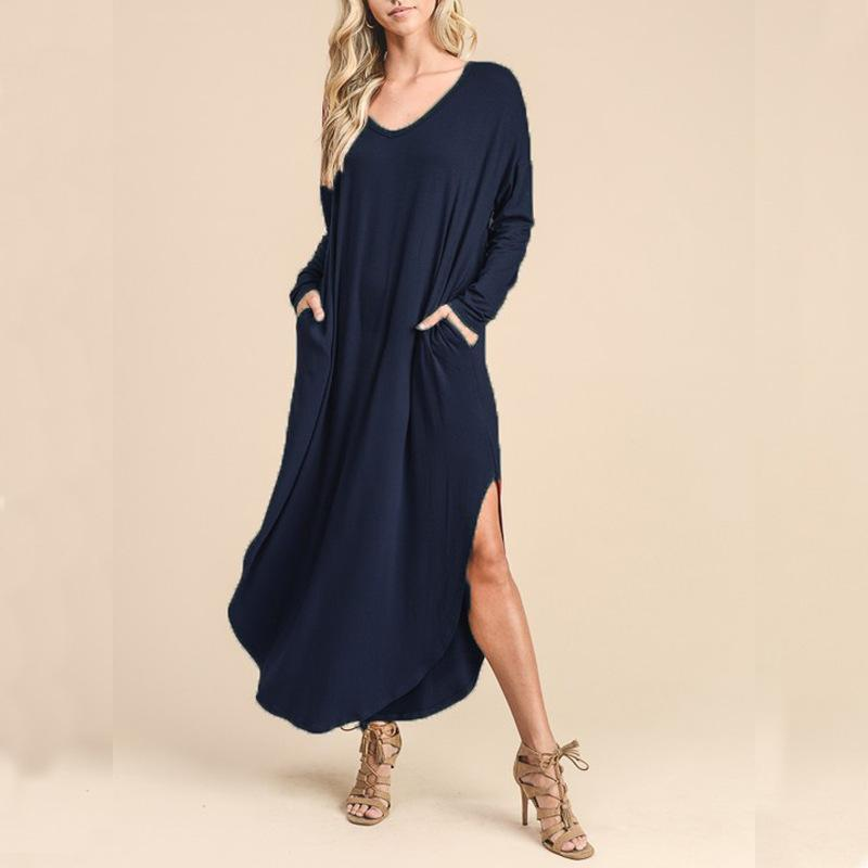 V Long-Sleeved Extended T-Shirt \/ Dress dark_blue m