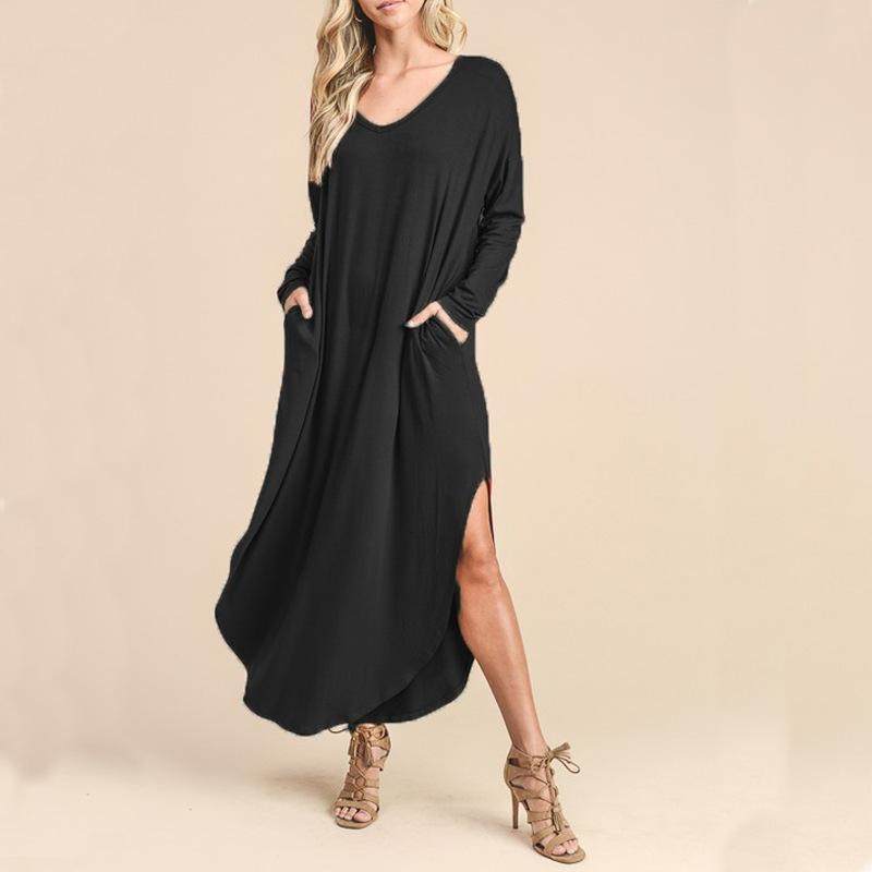 V Long-Sleeved Extended T-Shirt \/ Dress dark_blue l