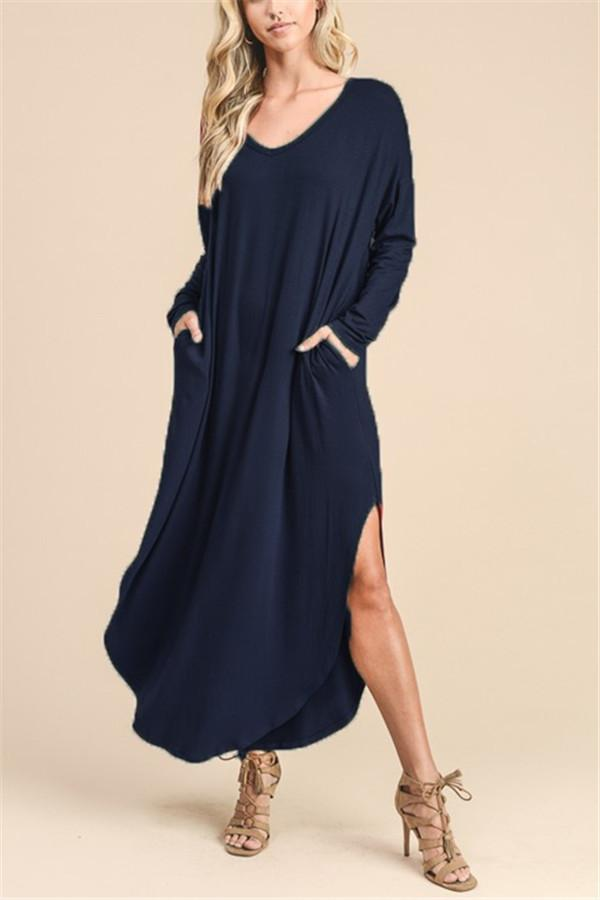V Long-Sleeved Extended T-Shirt \/ Dress dark_blue s