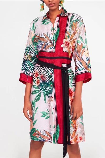 Vacation Casual Loose Floral Long Sleeve Shift Dress same_as_photo s