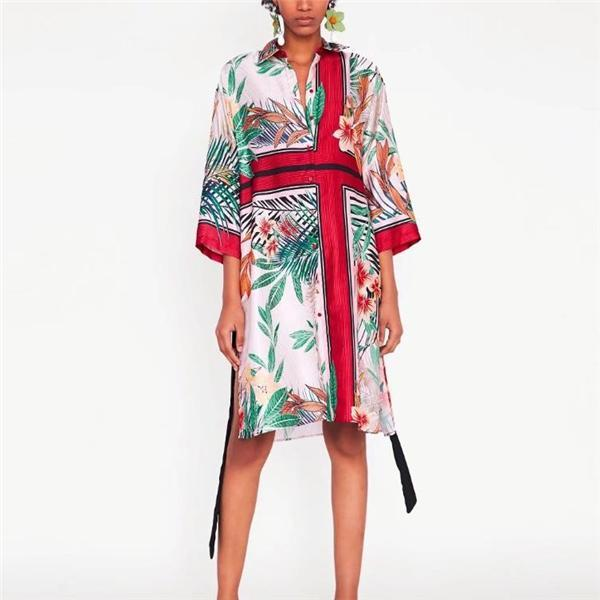 Vacation Casual Loose Floral Long Sleeve Shift Dress same_as_photo m