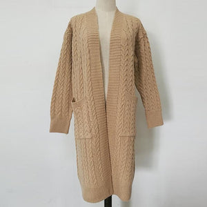Pure Color Hemp Flowers Pocket Knitting Cardigan Beige one size