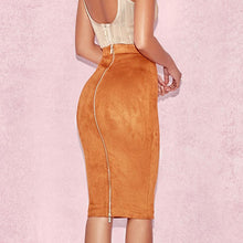 Autumn Winter Deerskin High Waist Sexy Bag Hip Skirt