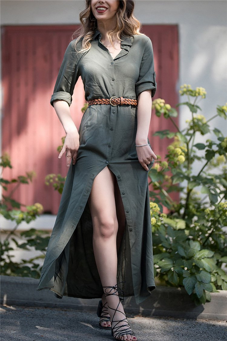 Shirt Button Long Sleeve Trim Body Pure Color Casual Maxi Dress army_green s