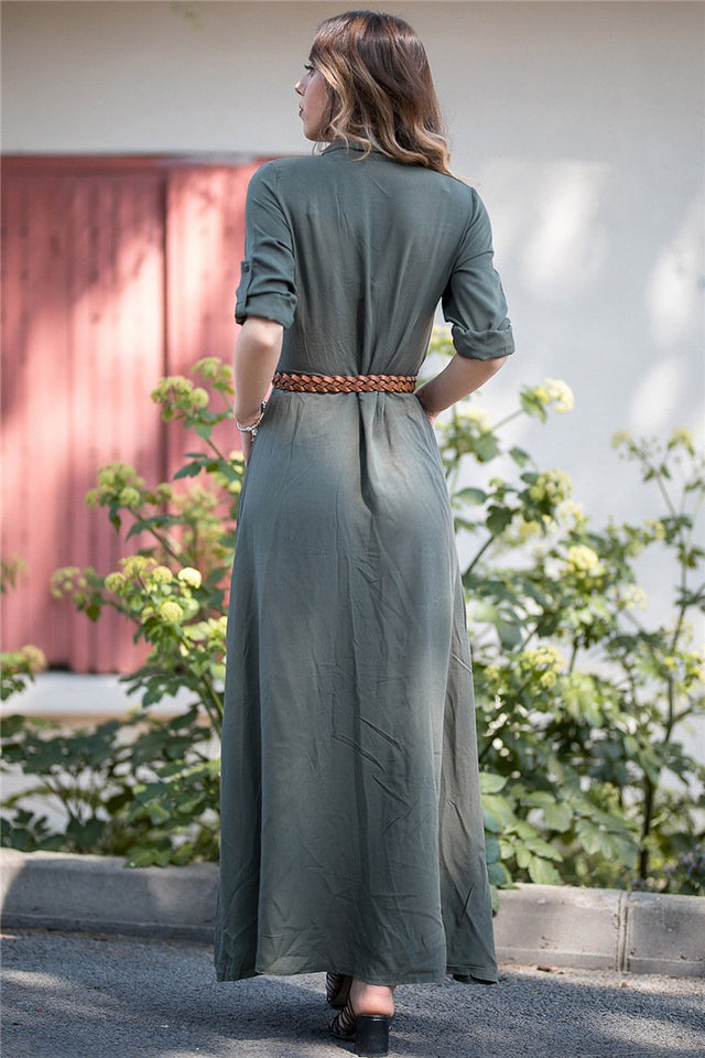 Shirt Button Long Sleeve Trim Body Pure Color Casual Maxi Dress army_green m