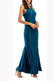 Elegant Fashion Slim Plain Sleeveless Halter Evening Dress green s