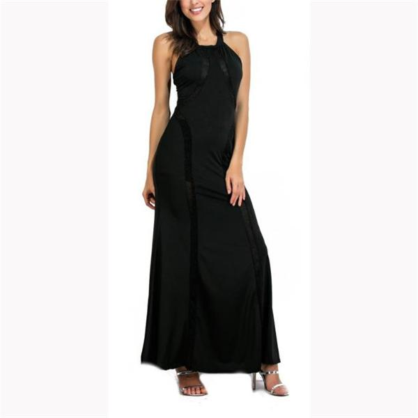Elegant Fashion Slim Plain Sleeveless Halter Evening Dress black s