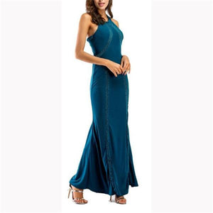 Elegant Fashion Slim Plain Sleeveless Halter Evening Dress green xl