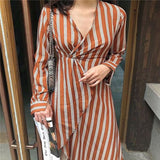 Vacation Fashion Casual Slim Strip V Collar Long Sleeve Irregular Hem Maxi Dress stripe m