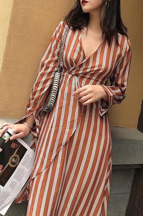 Vacation Fashion Casual Slim Strip V Collar Long Sleeve Irregular Hem Maxi Dress stripe s