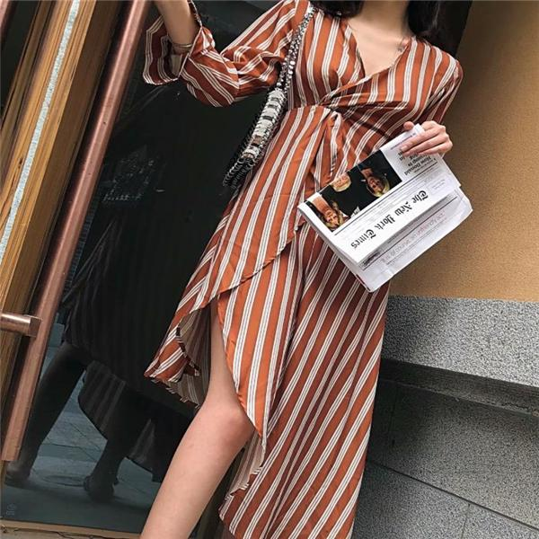 Vacation Fashion Casual Slim Strip V Collar Long Sleeve Irregular Hem Maxi Dress