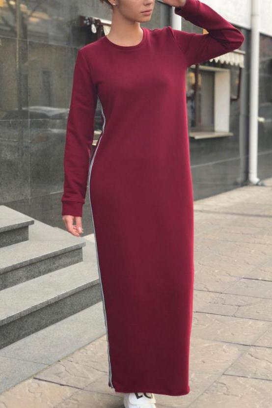 Casual Fashion Loose Strip Long Sleeve Maxi Dress claret_red s